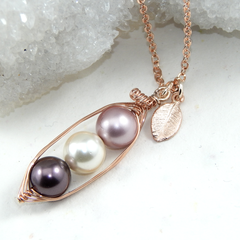 Peapod Necklace,Personalized Rose Gold Peapod Necklace