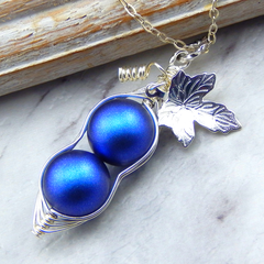 Two Peas In A Pod Iridescent Dark Blue  Necklace