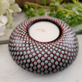 Deep Red, Grey and White Hand Painted Tealight Candle Holder 9cm