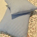 Gingham Decorator Cushions Pack of 2 - Blue and White Gingham 41 cm x 41 cm