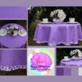 Round tablecloth - purple chevron print
