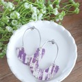 Arched Hoop,  Genuine Leather / Cork Stud Earrings, Purple / White