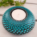 Shaded Turquoise and Silver Hand Painted Tealight Candle Holder 9cm