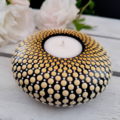 Shaded Yellow Hand Painted Mandala Tealight Candle Holder 10.5cm