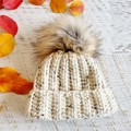 Newborn Oatmeal Ribbed Crocheted Baby Beanie with Faux Fur Pompom 0-3 months