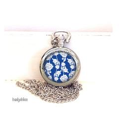 Blue floral pocket watch pendant necklace