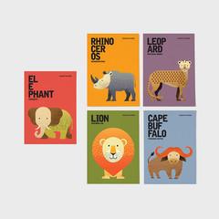 AFRICAN SAFARI Notecards, African Big 5 Animals Postcards, Animal Blank Cards