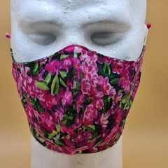XL Double Layer Cotton Pink Green Floral Print Face Covering Elastic