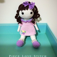 DOLL, hand crocheted, quality yarn, removable hair bow, soft stuffing,