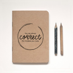 Illustrated Kraft A6 Notebook, Lined or Blank plus vintage-inspired pencil