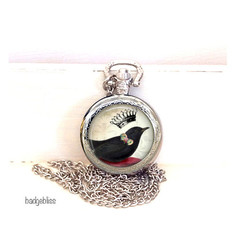Blackbird Pocket watch pendant necklace