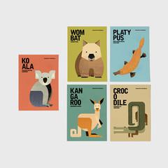 AUSTRALIAN WILDLIFE Notecards, Kanga, Koala, Wombat, Platypus, Croc Postcard Set