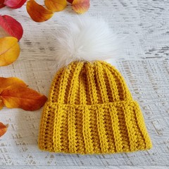 Newborn Mustard Ribbed Crocheted Baby Beanie with Faux Fur Pompom 0-3 months