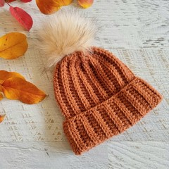 Newborn Terracotta Ribbed Crocheted Baby Beanie with Faux Fur Pompom 0-3 months
