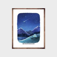 CAMPING Art Print, Mountain Adventure Print, Inspirational Poster