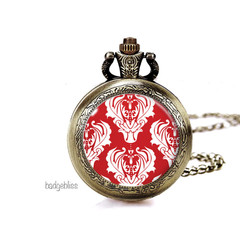 Red Pocket watch pendant necklace