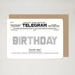 Birthday Card, Happy Birthday, Celebration Card, Vintage Inspired A6 TELEGRAM