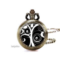 Black & white Pocket watch pendant necklace