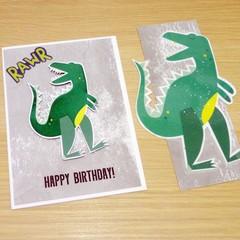 Dinosaur birthday card with matching book mark!  FREE POST