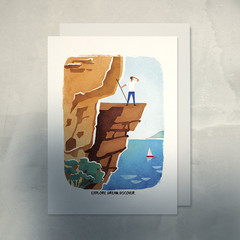 ADVENTURER EXPLORE Card, Great Outdoors Hiking Card, Mountain Cliff A6 Card