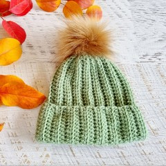 Newborn Sage Green Ribbed Crocheted Baby Beanie with Faux Fur Pompom 0-3 months