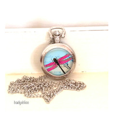 Dragonfly Pocket watch pendant necklace