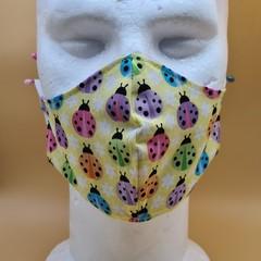 Medium Double Layer Cotton Ladybug Print Face Covering Elastic