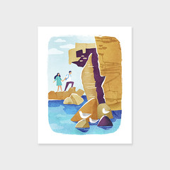 LOVERS HIKING Outdoor Adventure Print, Nature Walk Art Print, Mid Century Poster