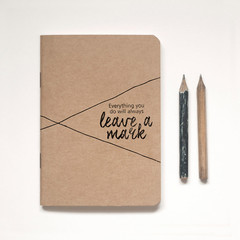 Kraft Notebook Blank plus vintage-inspired pencil, Illustrated 'PENCIL FOR LIFE'
