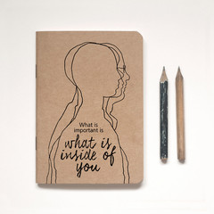 A6 Kraft Notebook Lined or Blank plus vintage-inspired pencil