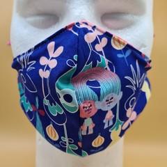 Medium Double Layer Cotton Trolls Print Face Covering Elastic