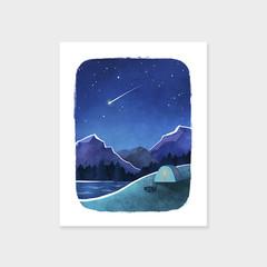 CAMPING Adventure Print, Mountain Art Print, Shooting Star, Mid Century Poster