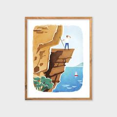 MOUNTAIN HIKE Outdoor Adventure Print, Mountain Sun Sea Poster, Trekking Art
