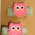 "OWL Hair Clips, set of 2,  2 1/4"" wide,  handmade,"