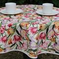 Round tablecloth - multi coloured tulip print