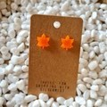 Resin maple leaf stud earrings