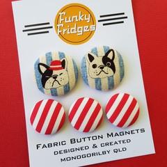 Denim Bulldog Flat Magnet Set