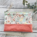 Medium Pouch/Clutch- Floral and Coral
