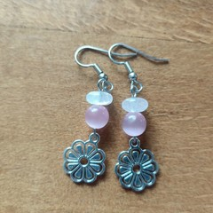 Gemstone Flower Dangle Earrings (Assorted gems available)