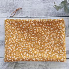 Large Pouch/Clutch- Mustard and Flowers