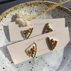 """""""Fairy Bread Slices"""" Handmade Stud Earrings"""
