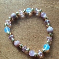 Cats Eye, Opalite andPink Coral Bead Stretch Bracelet