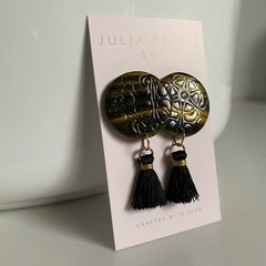 Black Gradient Tassel and Polymer Clay Handmade Stud Earrings