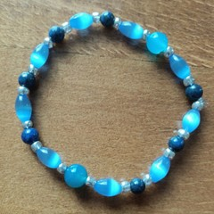 Lapis Lazuli, Cats Eye & Blue Agate Bead Stretch Bracelet