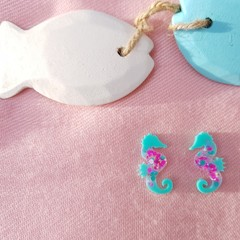 Seahorses Stud Glitter Earrings -Mint Candy Collection