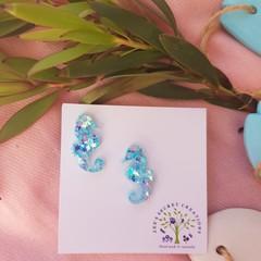 Seahorses Stud Glitter Earrings - Chunky Aqua Glitter