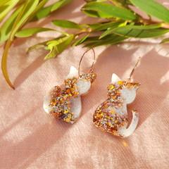 Cat Hoop earrings - Gold-white glitter