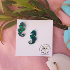 Seahorses Stud Glitter Earrings - Green-Blue Shards Glitter