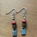 Mahogany Obsidian Padlock Dangle Earrings