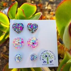 Set of 3 Stud Glitter Earrings